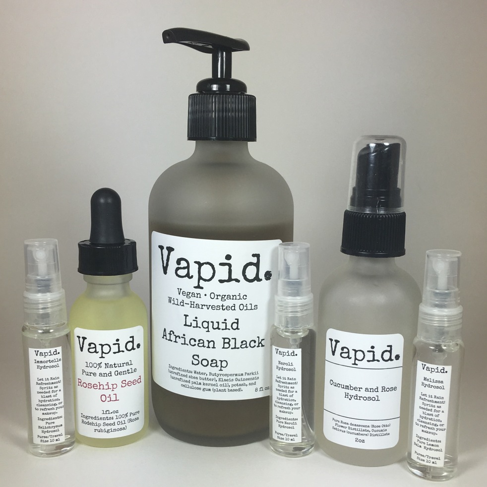 Vapid Lacquer Skin Care Products Liquid African Black Soap Hydrosols Rosehip Seed Oil Immortelle Melissa Lemon Balm Neroli Orange Blossom Cucumber And Rose